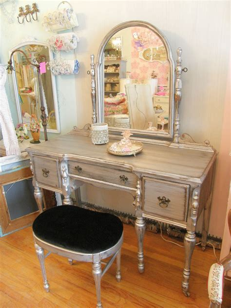 Antique Vanity Table With Mirror And Bench Vintage Chic Furniture Schenectady Ny Oooh La La Silver