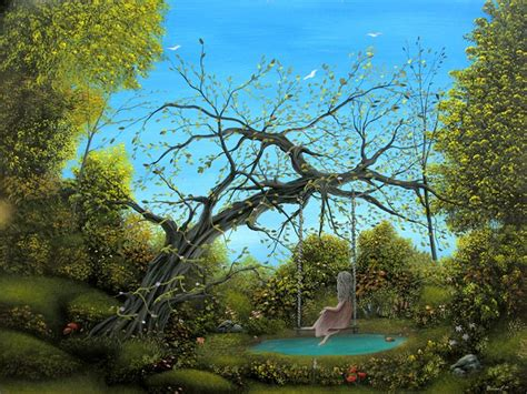 tree swing painting surrealism swings fantasy gothic landscape girl