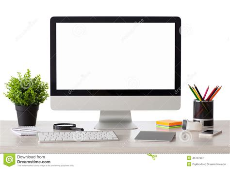 on computer computer with isolated screen stands on the table stock photo image 45727307