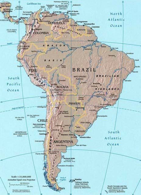 south america map bodies of water landforms of south america mountain ranges of south