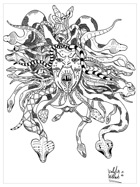 medusa by valentin myths legends coloring pages