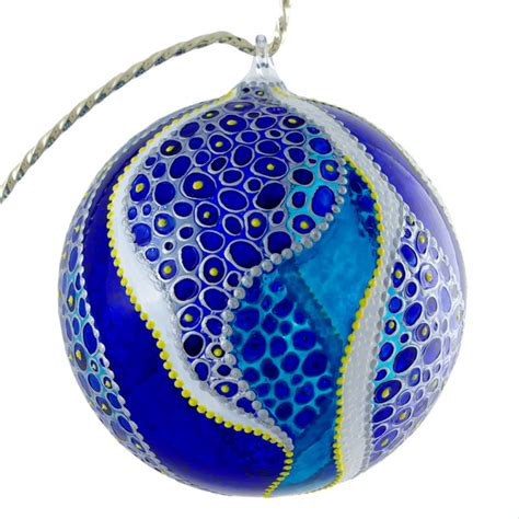 quot wave quot stained glass christmas ornament modern