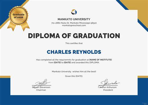 graduation certificate template free diploma of graduation certificate template in psd ms