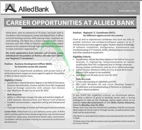 allied bank pakistan allied bank limited abl 2014 apply