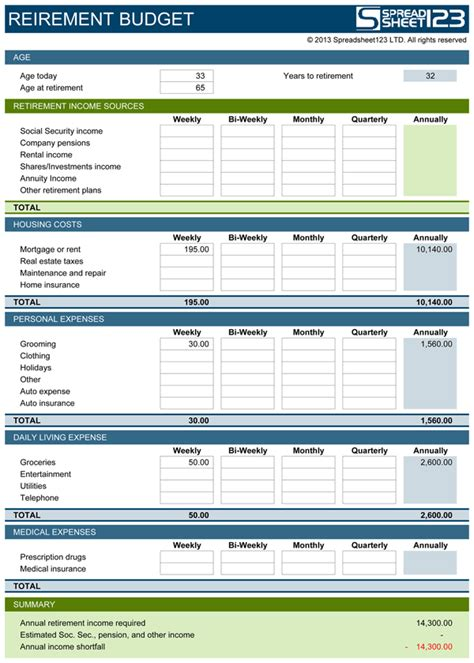 retirement excel template retirement budget planner free template for excel