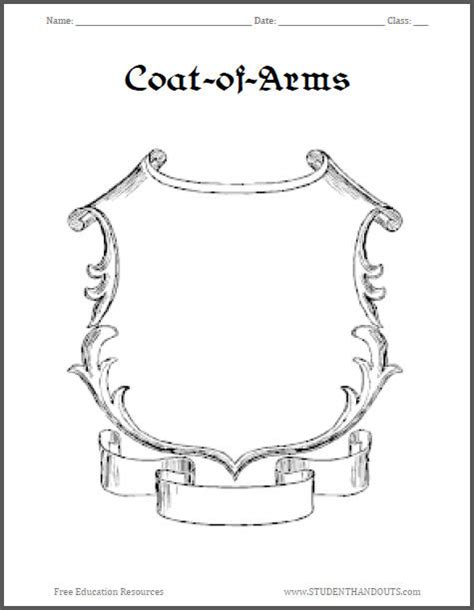 coat of arms template for students coat of arms worksheet 4 student handouts