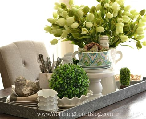 centerpiece ideas for kitchen table kitchen table centerpiece on a galvanized steel tray worthing court