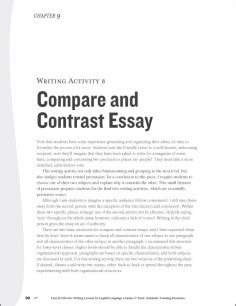 Comparison And Contrast Essays Exles by Comparison Contrast Essay
