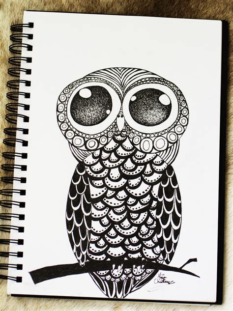 doodle draw owl illustration marichris