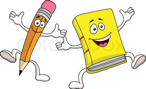 libro smileys people stift und buch cartoon figur vektorgrafik colourbox