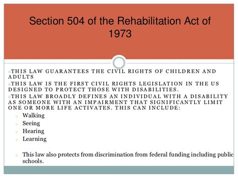 rehabilitation act of 1973 section 504 section 504 of the rehabilitation act of 1973 education