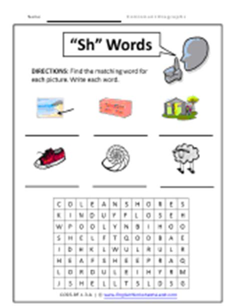 sh pattern words sounds of consonant digraphs worksheets