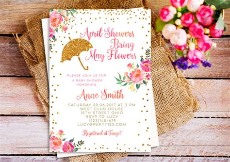 April Showers Bring May Flowers Invitations by April Showers Bring May Flowers Baby Shower Invitation