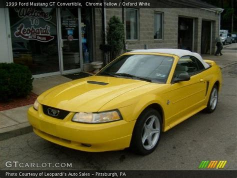 1999 white ford mustang chrome yellow 1999 ford mustang gt convertible oxford