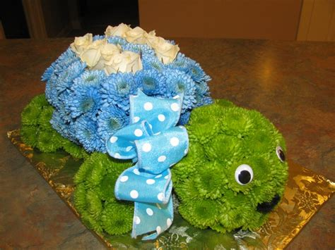 turtle flower arrangement blue shell for a boy baby