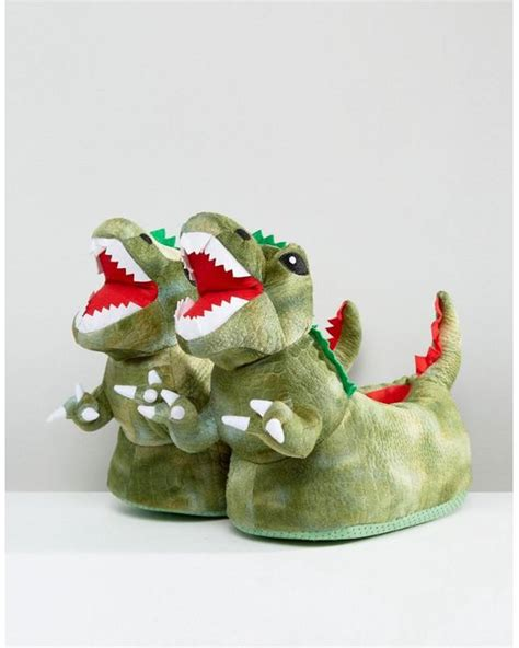 mens dinosaur slippers lyst asos dinosaur slippers in green in green for