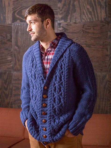 mens shawl collar sweater knitting pattern fitzgerald is an aran style cardigan with a shawl collar
