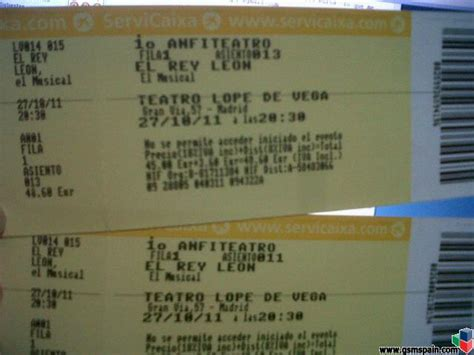 vendo entradas para el rey leon vendo 2 buenas entradas musical rey leon madrid primera fila