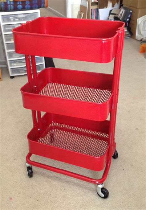 raskog trolley red spray painted raskog kitchen cart bar cart diy