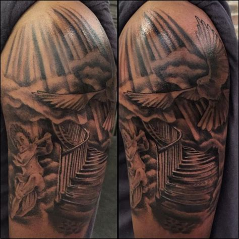 heaven and earth tattoo designs jackson just finished this stairway to heaven
