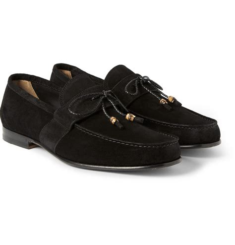 black loafers for gucci suede loafers in black for lyst