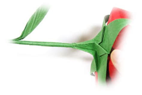 Origami Flower Stem - how to make an easy s origami paper flower