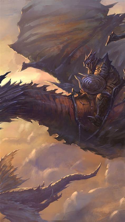 wallpaper dragon sky clouds rider armor art wings
