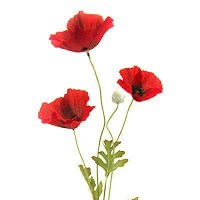 artificial flame red poppy flower 63cm decorative