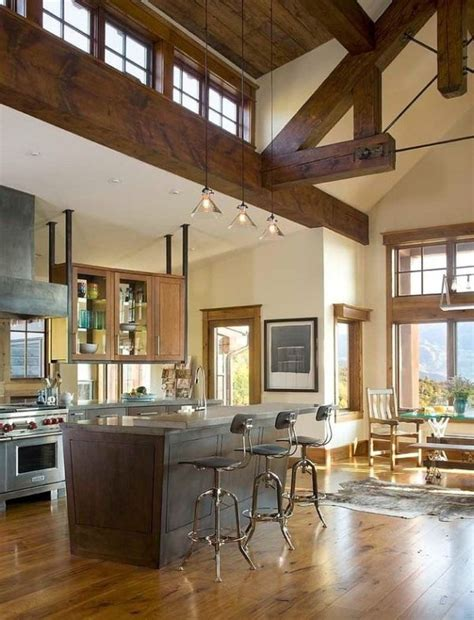 stylish decors featuring warm rustic beautiful wood ceilings recently redesigned mountainside residence featuring a