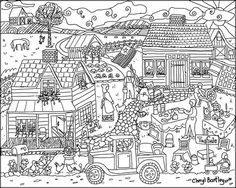 chicken coop coloring page farm house coloring page of