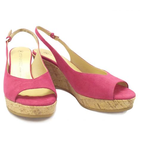 kaiser bobby pink suede wedge summer shoes