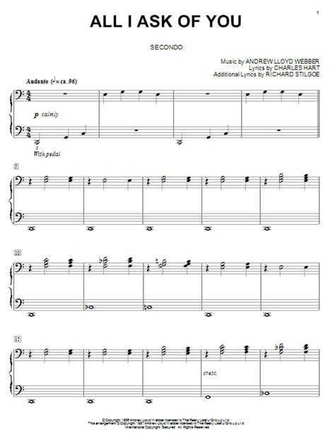 all i ask all i ask of you sheet music direct