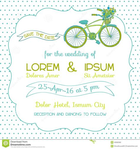 bicycle for two wedding invitations wedding invitation card bicycle theme stock vector
