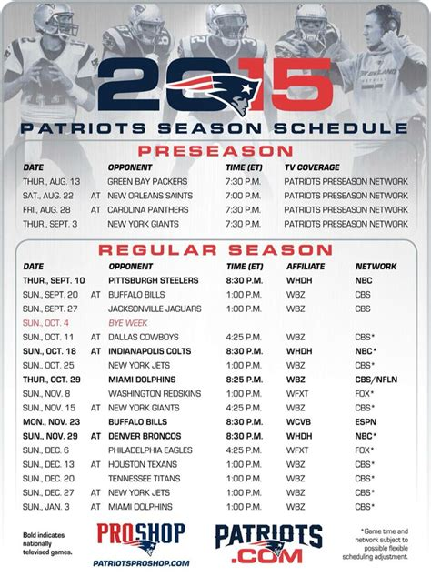 printable schedule for new england patriots patriots 2015 schedule football pinterest patriots