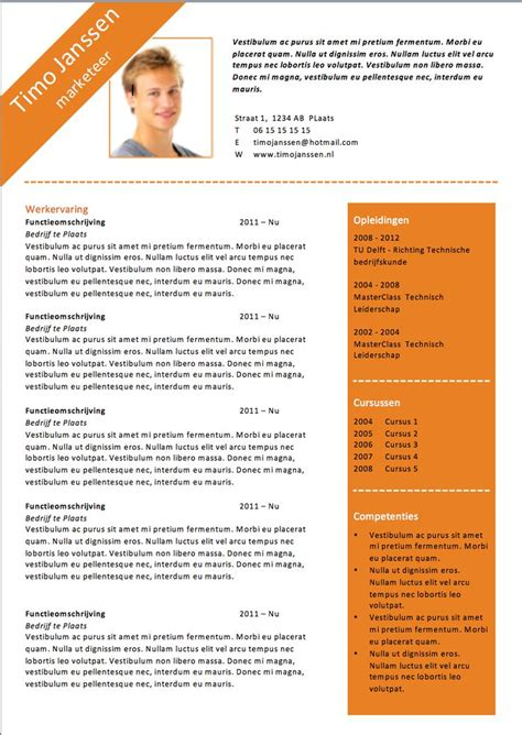 Sjabloon Chronologisch Cv Word Cv Sjabloon Ms Word Cv Sjablonen Lifebrander