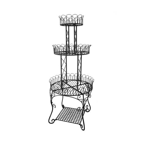 shop garden treasures 59 5 in 3 tier plant stand at lowes com