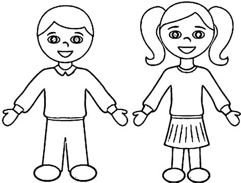 Girls And Boys Coloring Pages Printable Boy Coloring Page