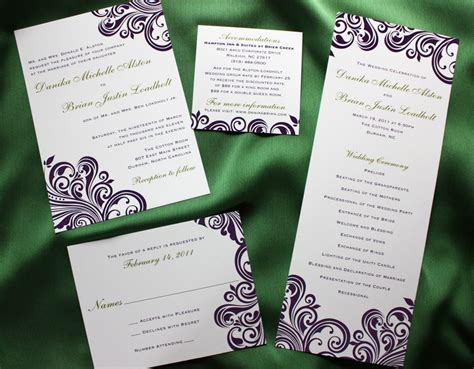 purple and green wedding invitations purple swirl with green accents damask wedding invitations programs emdotzee designs