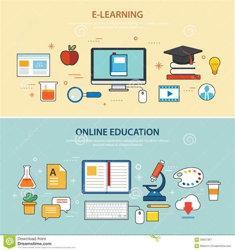 design online learning online education and e learning banner flat design