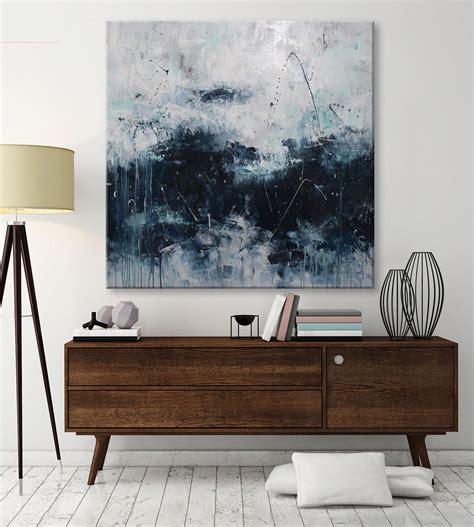 contemporary painting ideas large abstract seascape painting palette knife white blue