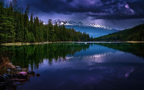 nature landscape mountain forest evening lake clouds