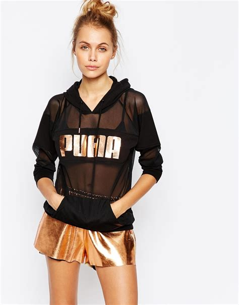 Ck Ck090 Rosegold Black 1 oversized sheer mesh hoodie with gold logo in black lyst