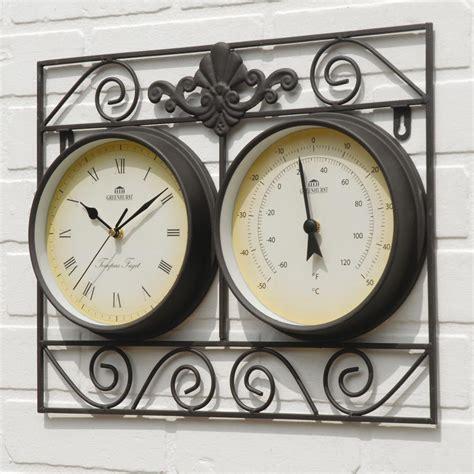 weatherproof wall frame outdoor garden clock thermometer