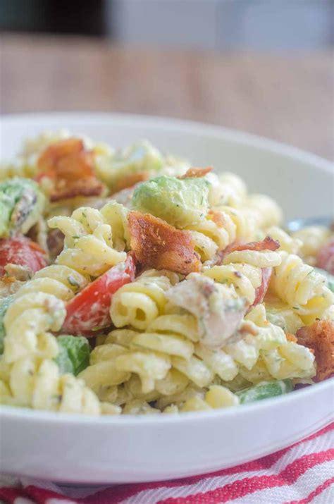 recipe for creamy bacon tomato and avocado pasta salad bacon tomato avocado pasta salad life s ambrosia
