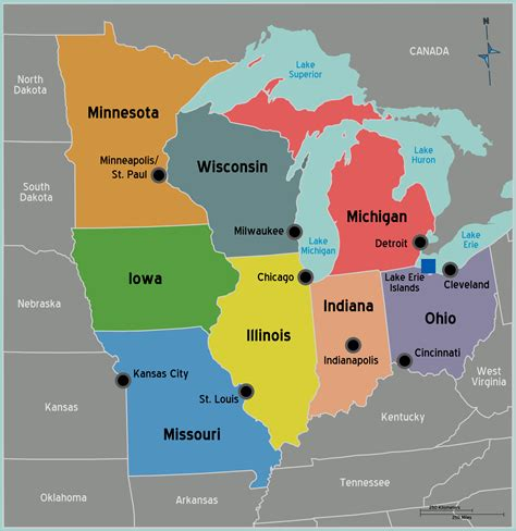 map of midwest states usa midwest map mapsof net