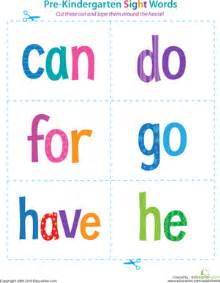 pre kindergarten sight words can to he worksheet