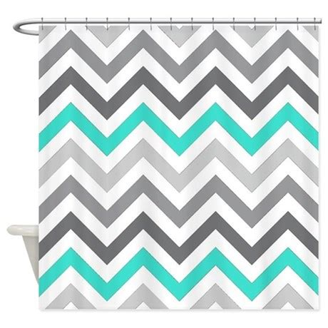 grey and turquoise shower curtain gray and turquoise chevrons shower curtain by