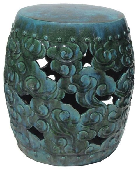 clay stool green blue eclectic accent