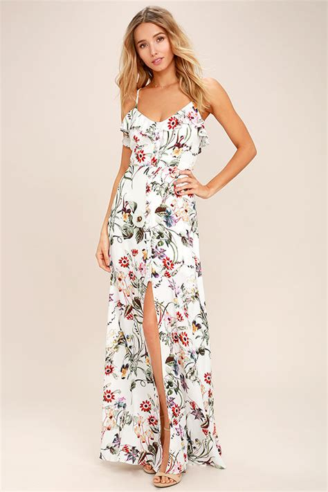 41345 Flower With Slit S M L Dress maxi dresses dresses for at lulus