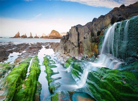 spanish nature of photographs 0714865702 gueirua beach cudillero spain nature photos on creative market